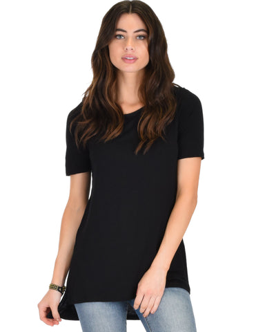 Side by Side Slit Black Tunic Top