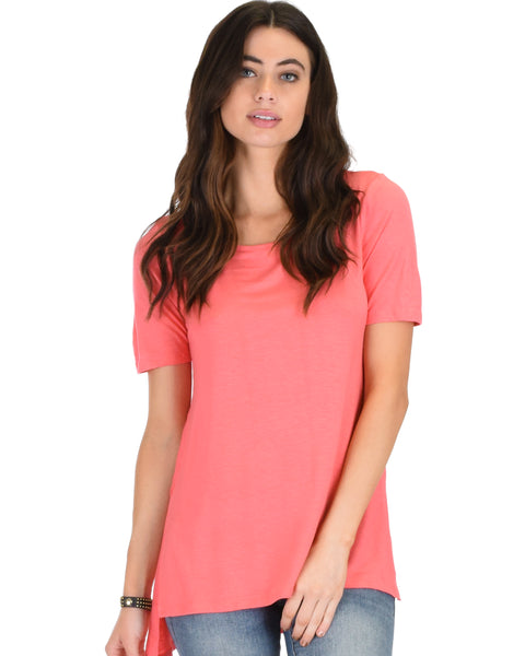 Side by Side Slit Pink Tunic Top