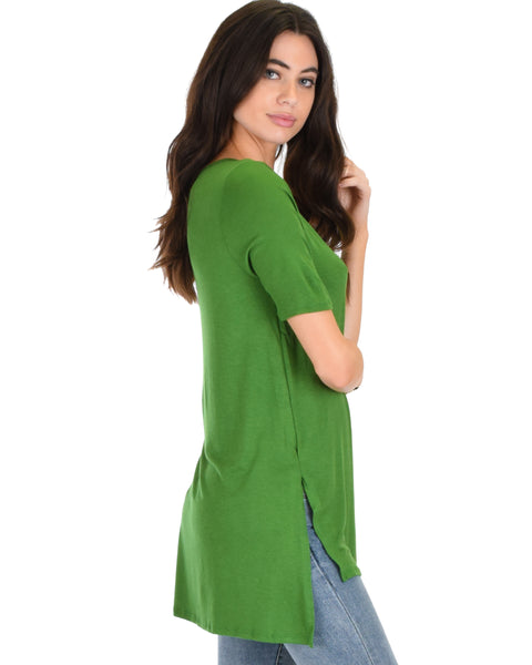 Side by Side Slit Green Tunic Top