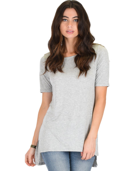 Side by Side Slit Grey Tunic Top