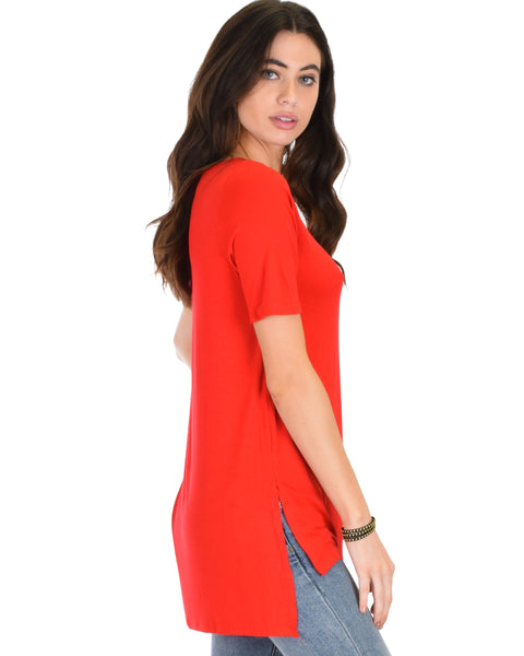 Side by Side Slit Red Tunic Top