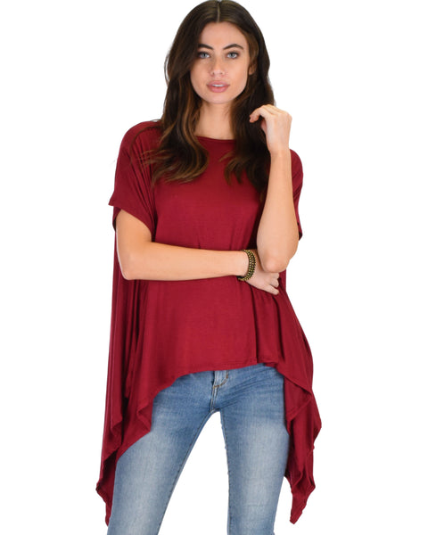 Somedays Lovin' Comfort Over-Sized Draped Burgundy Tunic Top
