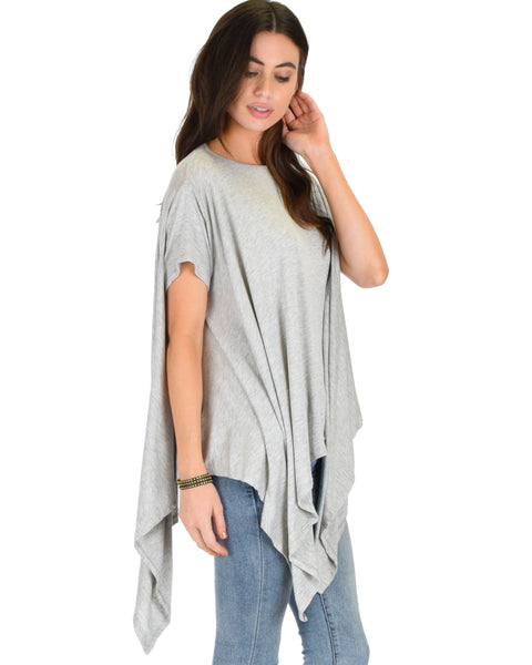 Somedays Lovin' Comfort Over-Sized Draped Grey Tunic Top