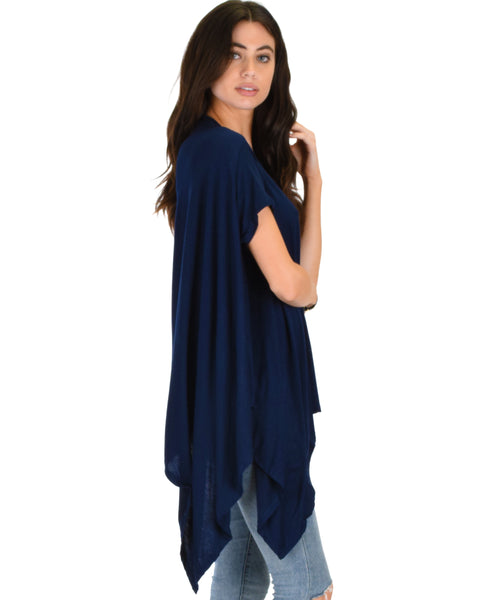 Somedays Lovin' Comfort Over-Sized Draped Navy Tunic Top