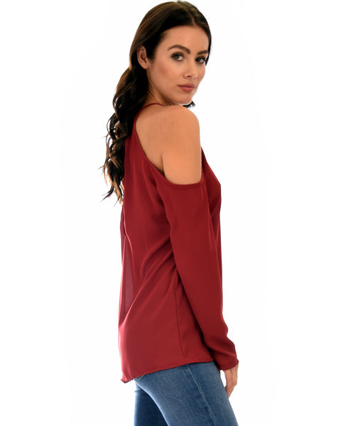 Melt My Heart Cold Shoulder Burgundy Blouse Top