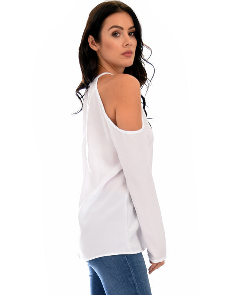 Melt My Heart Cold Shoulder Ivory Blouse Top