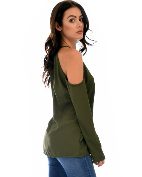 Melt My Heart Cold Shoulder Olive Blouse Top