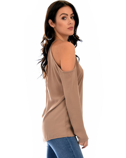 Melt My Heart Cold Shoulder Taupe Blouse Top