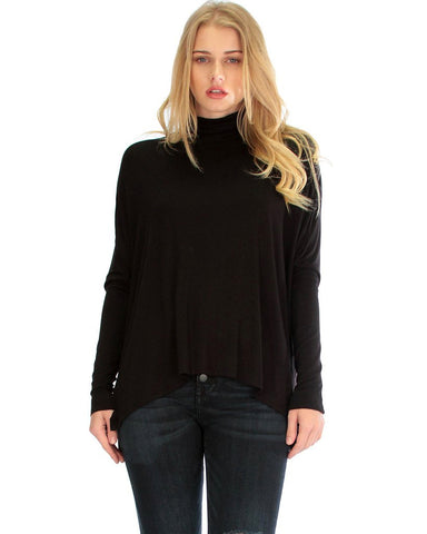 Fly On By Turtleneck Long Sleeve Black Dolman Top