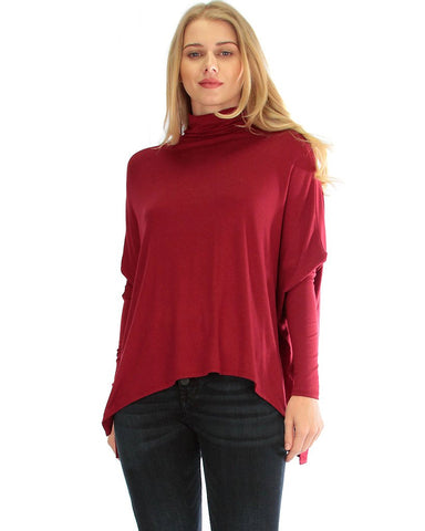 Fly On By Turtleneck Long Sleeve Burgundy Dolman Top