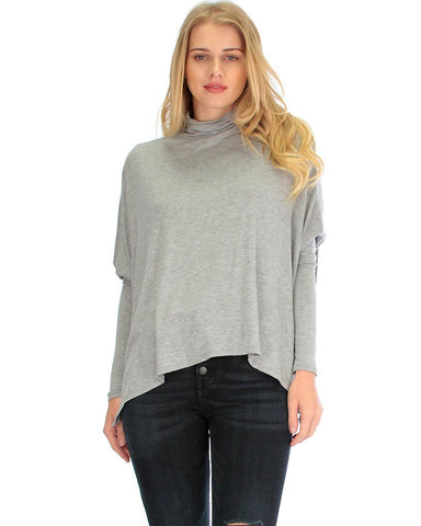 Fly On By Turtleneck Long Sleeve Grey Dolman Top