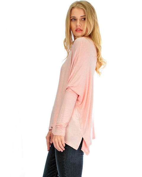 Fly On By Turtleneck Long Sleeve Pink Dolman Top