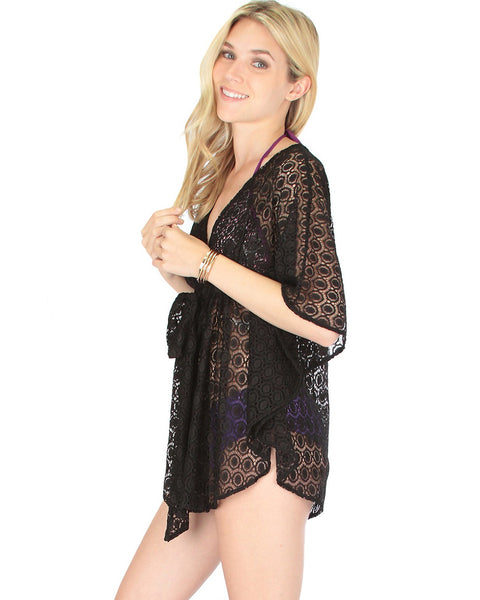 Air & Sea Black Lace Cover-Up