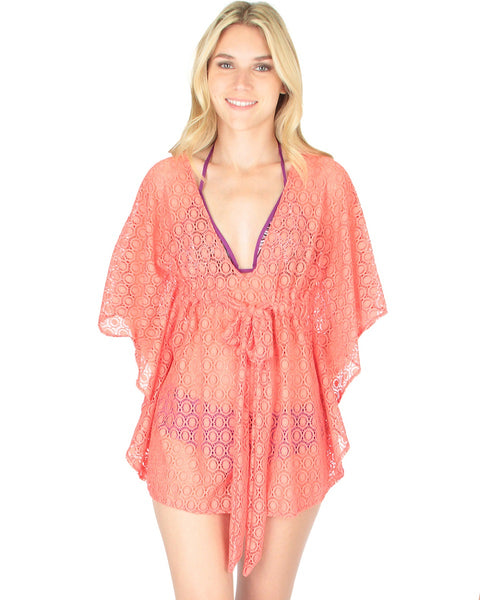 Air & Sea Coral Lace Cover-Up