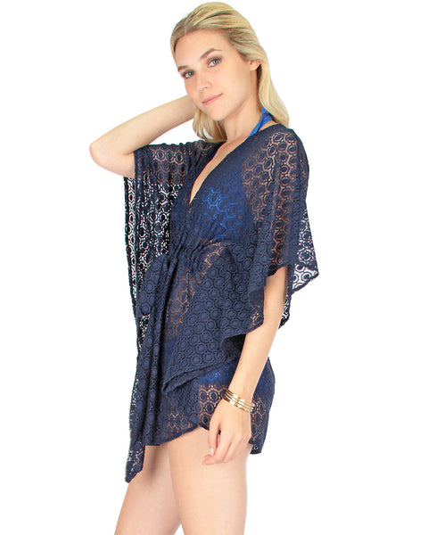 Air & Sea Navy Lace Cover-Up