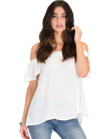 Sunny Honey Off The Shoulder Sheer Ivory Blouse Top