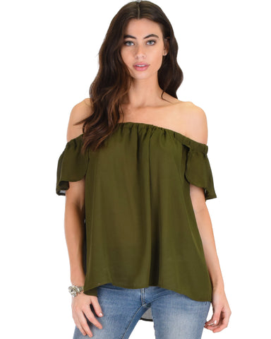 Sunny Honey Off The Shoulder Sheer Olive Blouse Top
