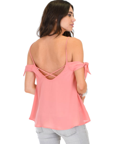 Fun & Flirty Tie Strap Sheer Pink Woven Top