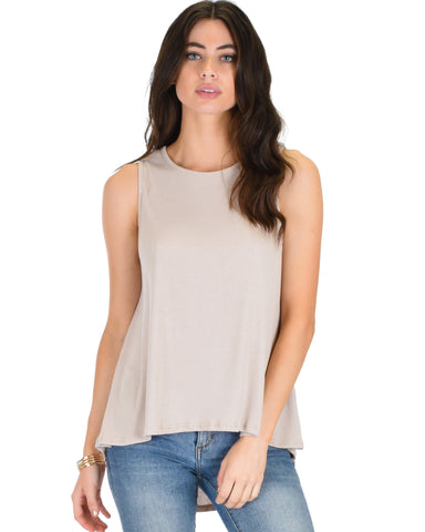 My First Crush Ribbed Taupe Top With Keyhole Back