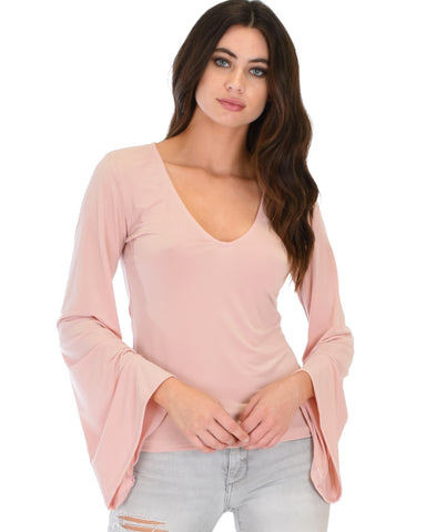 Ring My Bell Sleeve Mauve V-Neck Top