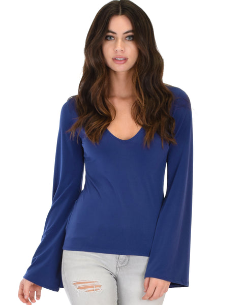 Ring My Bell Sleeve Navy V-Neck Top