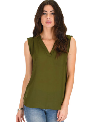 Queen of Hearts Deep V-Neck Sheer Olive Blouse Top