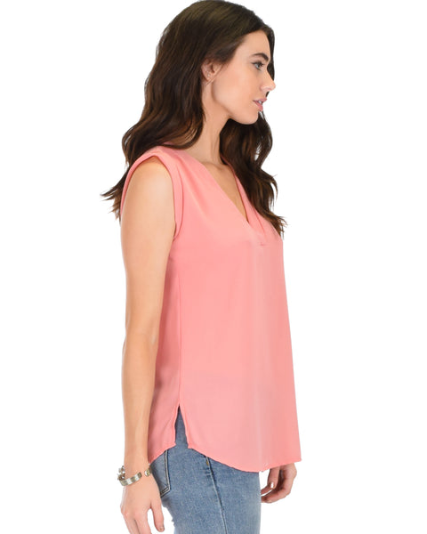 Queen of Hearts Deep V-Neck Sheer Pink Blouse Top