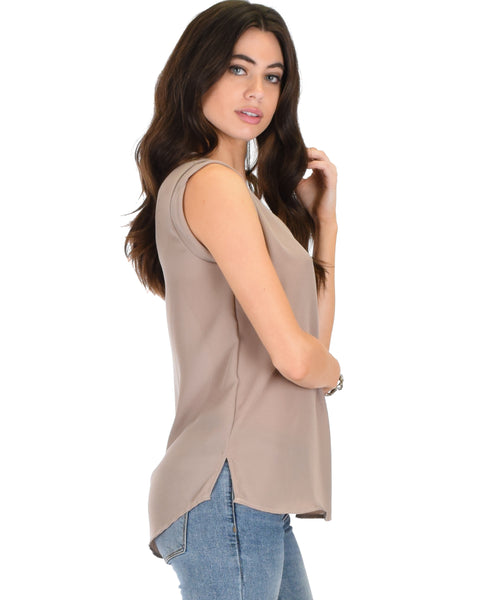 Queen of Hearts Deep V-Neck Sheer Taupe Blouse Top