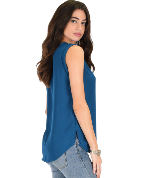 Queen of Hearts Deep V-Neck Sheer Teal Blouse Top