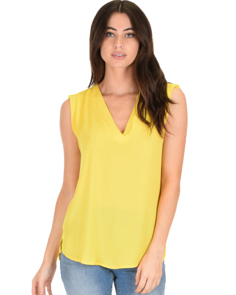 Queen of Hearts Deep V-Neck Sheer Yellow Blouse Top