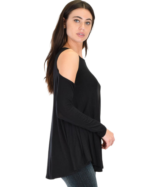 In Good Company Cold Shoulder Black Long Sleeve Top
