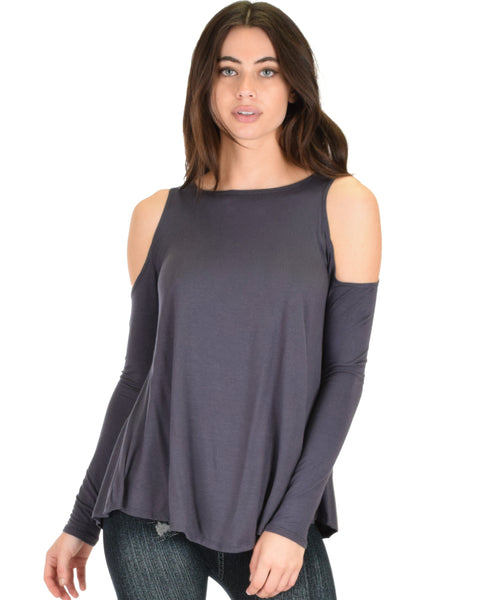 In Good Company Cold Shoulder Charcoal Long Sleeve Top