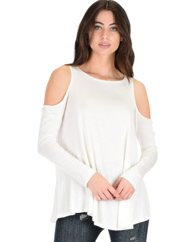 In Good Company Cold Shoulder Ivory Long Sleeve Top
