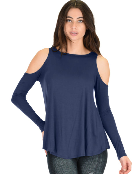 In Good Company Cold Shoulder Navy Long Sleeve Top