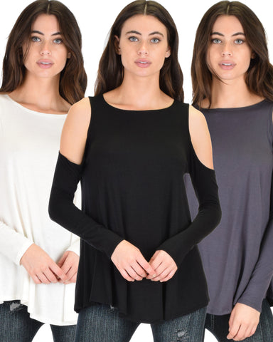 3 Pack In Good Company Cold Shoulder Long Sleeve Top
