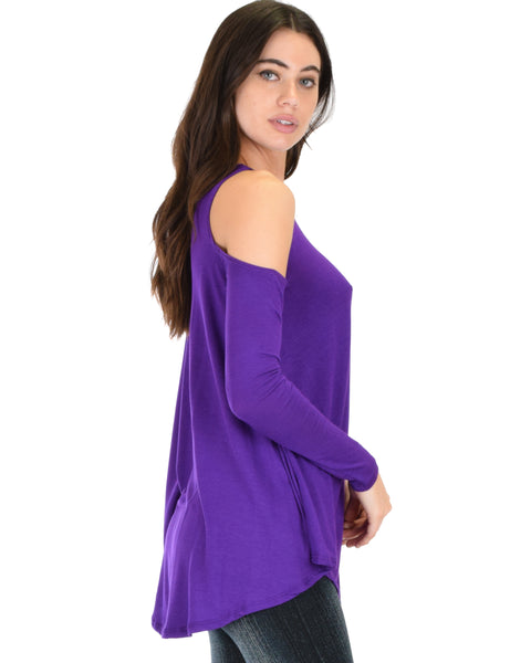 In Good Company Cold Shoulder Purple Long Sleeve Top