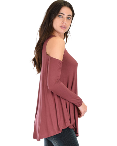 In Good Company Cold Shoulder Marsala Long Sleeve Top