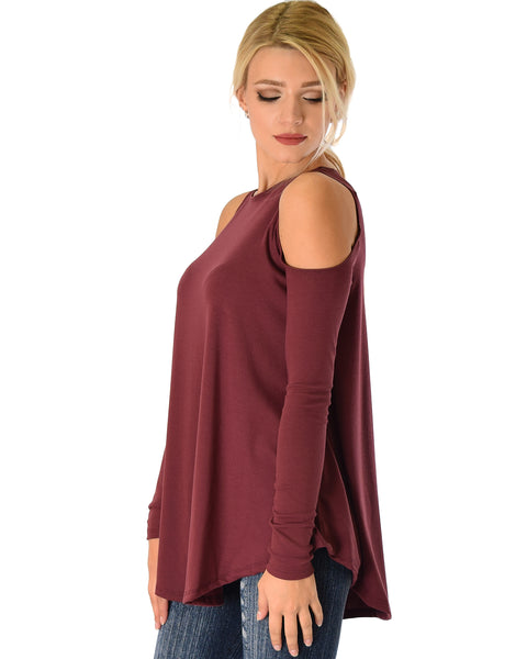 In Good Company Ribbed Cold Shoulder Burgundy Long Sleeve Top