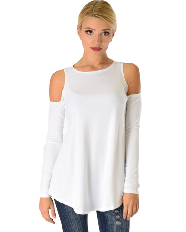 In Good Company Ribbed Cold Shoulder Ivory Long Sleeve Top