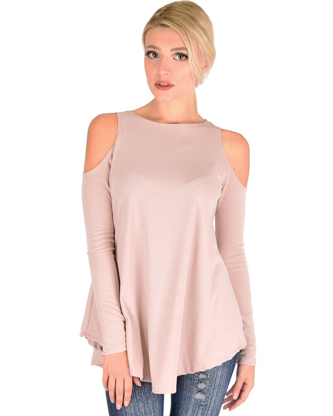 In Good Company Ribbed Cold Shoulder Mauve Long Sleeve Top
