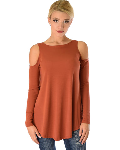 In Good Company Ribbed Cold Shoulder Rust Long Sleeve Top