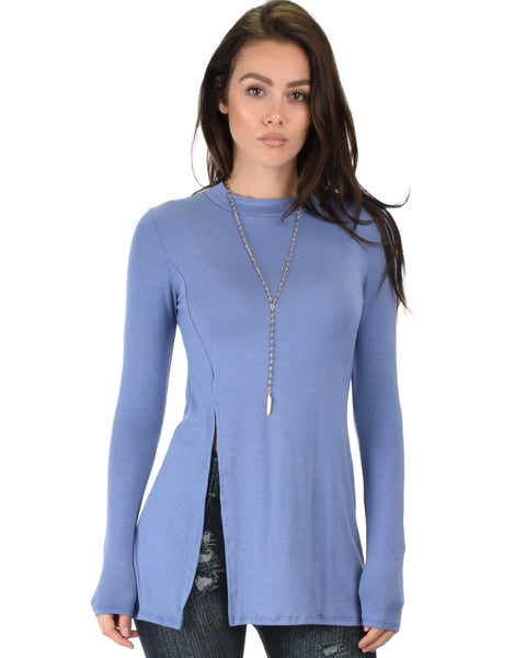 Swap My Options Long Sleeve Slit Blue Tunic Top