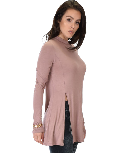 Swap My Options Long Sleeve Slit Mauve Tunic Top