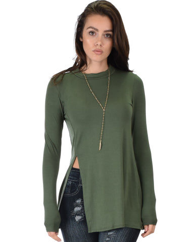 Swap My Options Long Sleeve Slit Olive Tunic Top
