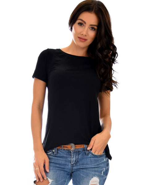 The New Classic Cuffed Sleeve Black Tunic Top