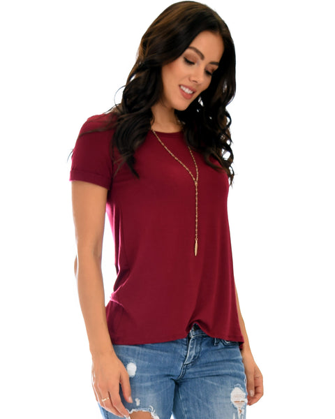The New Classic Cuffed Sleeve Burgundy Tunic Top