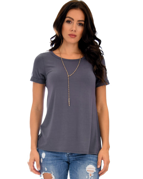 The New Classic Cuffed Sleeve Charcoal Tunic Top