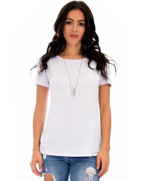 The New Classic Cuffed Sleeve Ivory Tunic Top