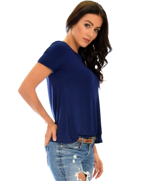 The New Classic Cuffed Sleeve Navy Tunic Top