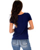 The New Classic Cuffed Sleeve Navy Tunic Top - Back Image